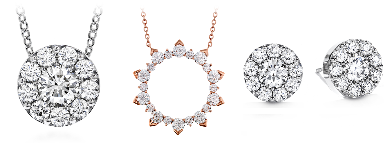 Women's diamond necklaces and earrings from Hearts on Fire